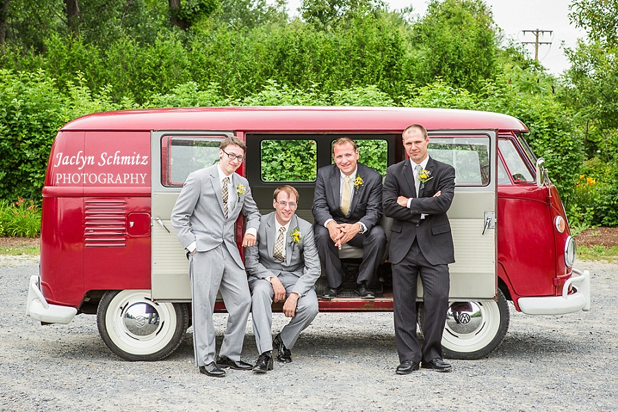 groomsmen portraits with classic volkswagen